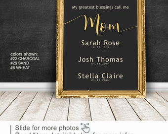 Mother gift, Personalized Mothers Day Gift PRINT/CANVAS/DIGITAL Mom Wall Art with childrens names birth dates, Anniversary Gift from husband