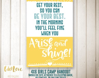 Girls camp handouts - Arise and Shine quote -  INSTANT download  / Young Women LDS quotes