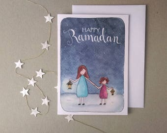 Printable Happy Ramadan Card- Lantern Girls Illustration- Islamic Greeting Card- Ramadan Mubarak