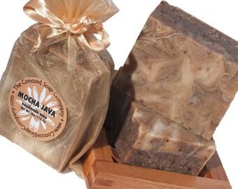 Mocha Java Handmade Cold Process Soap Bar, 4oz -coffee,chocolate,brown,phthalate free,vegan,natural,organic sustainable palm oil,organza bag