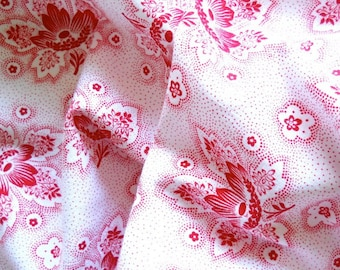 red floral french fabric 1930's fabric antique patchwork fabric quilting fabric  red flowers cotton 13