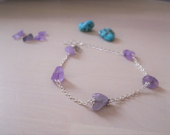 Sofisticated sterling silver and amethyts bracelet, minimalist