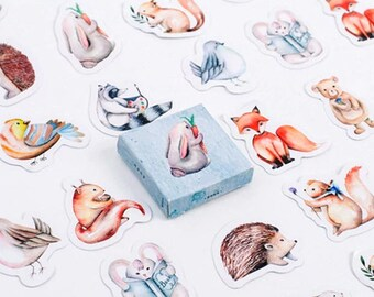 45 cute stickers - small decals with animals