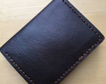 Front Pocket Wallet  Leather Minimalist Wallet in Chocolate Brown and Red