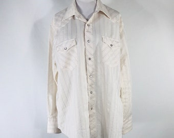 Vintage 70s Wrangler Cream Pearl Snap Western L/S Shirt Size 17x35 USA Made