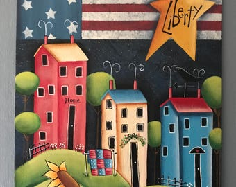 Liberty, Patriotic, Flag, Stars and Stripes, Deb Antonick, sunflowers, houses, summer decor, 4th of July, quilt