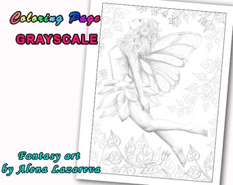 Coloring Page, Grayscale illustration Fairy  art
