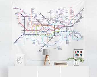 London Tapestry | London Tube Map Wall Tapestry | London Wall Décor | London Tube Map | London Wall Art | London Tube Art | London Décor
