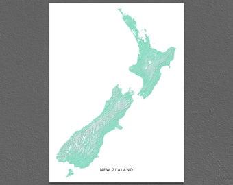 New Zealand Map Print, New Zealand Wall Art, Aqua, Landscape Art