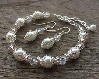 Art Deco Jewelry, Pearl Crystal Art Deco Earrings Bracelet, Filigree Bracelet, Elegant Wedding Jewelry on Silver or Gold Chain and Hooks