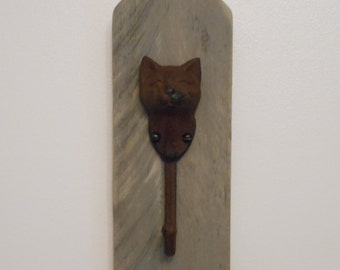 Cast Iron Cat Hook on Distressed Wood