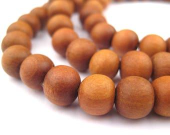 108 Natural Sandalwood Mala Beads: Mala Necklace Yoga Meditation Wood Mala Beads Nepal Wood Beads Brown Mala Beads (WOD-RND-BRN-933)