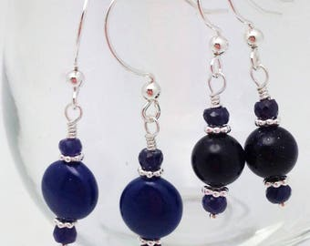 Navy Blue Earrings - Dark Blue Swarovski Pearl and Gemstone Earrings with Sterling Accents. You choose. One of a Kind Handmade Jewelry.