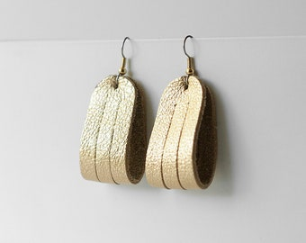 Leather Earrings / Mini Sliced Leather / Soft Gold