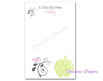 Personalized Teacher note pads Personalized teacher gift Personalized teacher memo pads apple note pad owl note pad