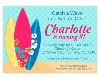 Surf Invitation - Turquoise Polka Dot Sky, Hot Pink, Blue and Yellow Surfboards Personalized Birthday Party Invite - Digital Printable File
