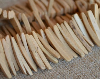 Natural Sticks Wood Beads Top-Drilled Stick 25x4mm 16 Inches Coconut Palm