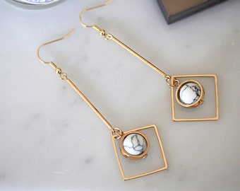 Marble And Geometric Symmetrical Earrings- Gold tone- Stylish and Elegant