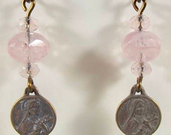 St. Therese Little Flower Medal Catholic Earrings Jewelry