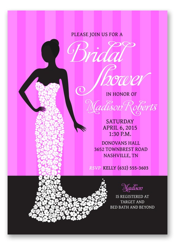 Black bridal city dress invitation sex shower wording