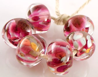 First Love Encased SRA Lampwork Handmade Artisan Glass Donut/Round Beads Made to Order Set of 6 10x15mm