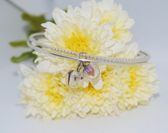 Evening Breeze Handmade Sterling Silver Fine Double Bangle Adorned with Lampworked Glass Pendants