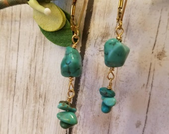Arizona Turquoise and Gold Fill Earrings Lever Back