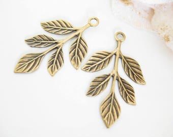 2 PC Antique Gold Leaf Charm, Brass Leaf Pendant, Jewelry Supplies