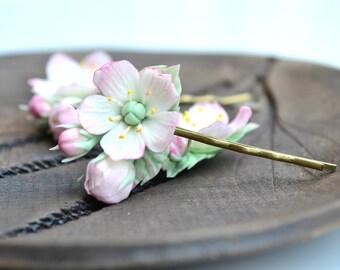 Apple blossom cherry blossom sakura hair clip bobby pin. Wedding hair blossom. Spring flower hair clip bobby pin. Polymer clay flowers