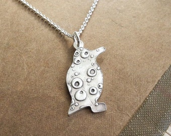 Penguin Necklace, Bubble Penguin Pendant, Fine Silver, Sterling Silver Chain, Made To Order