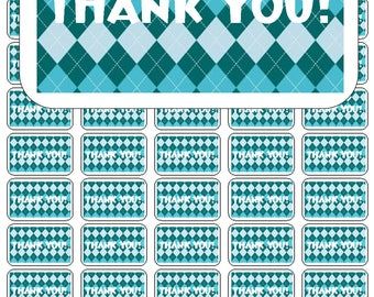 """50 Argyle Teal and Aqua Thank You Envelope Seals / Labels / Stickers, 1"""" by 1.5"""""""