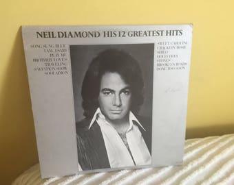 Neil Diamond 12 Greatest Hits Record Album NEAR MINT CONDITION