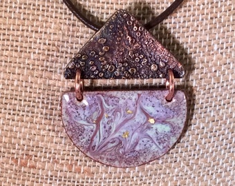 Enamel pendant, textured copper, gold leaf, purple, brown, green, contemporary, leather, gift for her, mothers's day, contemporary