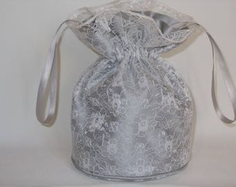 Silver lace and silver satin dolly bag. Ribbon drawstring, wrist purse, wedding bag for bride/bridesmaid/prom. Bridal UK Seller