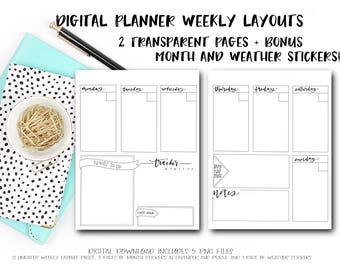 Digital Planner Pages - Weekly Layout (BONUS! 24 Month Stickers and Weather Icons)