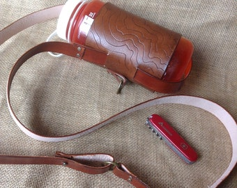 Topo carved Leather Water Bottle holder with crossbody strap - Brown with Topo carving (water bottle is not included)