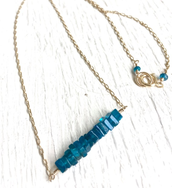 Throat Chakra Neon Apatite Bar Necklace Apatite Heishi Cubes Pendant Necklace Unique jewelry Minimalist Jewelry Gift For Her