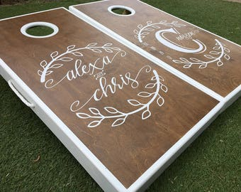 Monogrammed Laurels Wedding Cornhole Boards Wedding Cornhole