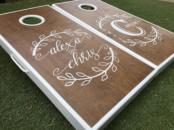 Monogrammed Leaf Wedding Cornhole Boards