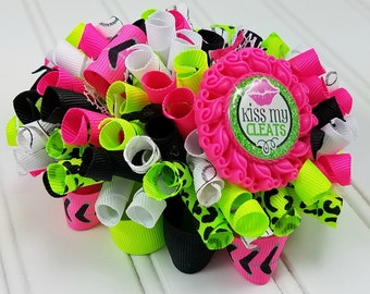 Funky Loopy Bow - Kiss My Cleats - Black, White, Neon Pink, Neon Green/Leopard - READY TO SHIP