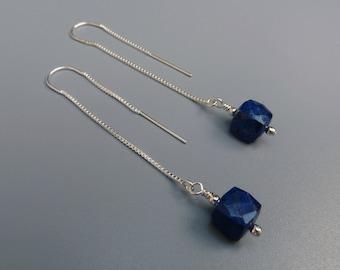 Lapis Threader Earrings, Silver Threader Earrings, Lightweight Earrings, Lapis Linear Earrings, Modern And Minimal Earrings, Gift For Her