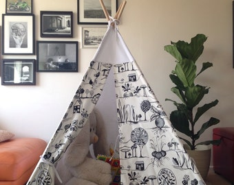 Teepee with poles and mat, Beautiful Teepee, tipi, wigwam, childrens play tent, charcoal fabric