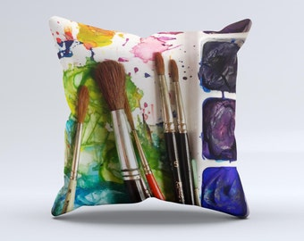 The Paint Brushes - iNK-Fuzed Decorative Throw Pillow