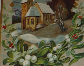 Winter Scene With House, Mistletoe and Holly Antique New Year Postcard