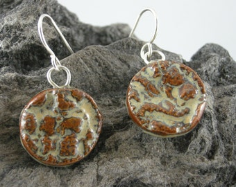 EARRINGS,PORCELAIN, STERLING, Warm Brown Glaze with Organic Design Imprinted on Porcelain,  20 gauge Sterling French Ear Wires