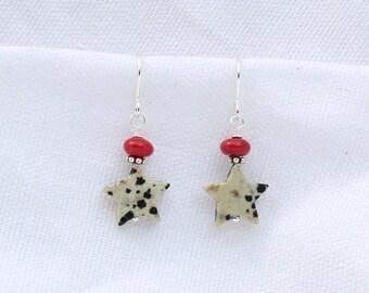 Dalmatian Jasper Star Earrings
