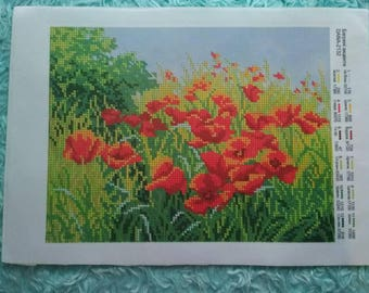 Flowers Poppies Field Beaded Embroidery kit DIY Beadwork  Bead Embroidery Kit DIY Set for embroidery Beaded Embroidery beads and canvas