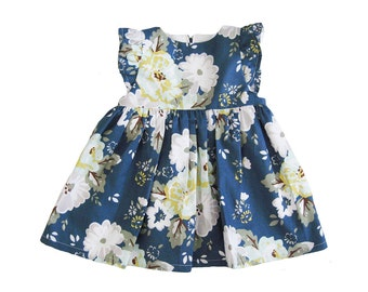 Baby Girl Dresses - Navy Blue Baby Dress - Camellia Floral Baby Girl Dress - Dress for Baby Girl - Baby Party Dresses