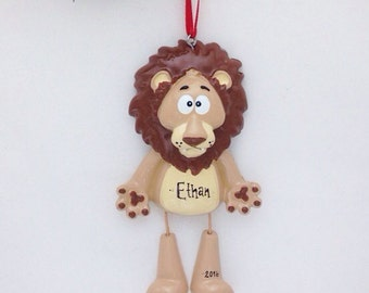 Lion Personalized Christmas Ornament - Zoo Animal Ornament - Hand Personalized Christmas Ornament