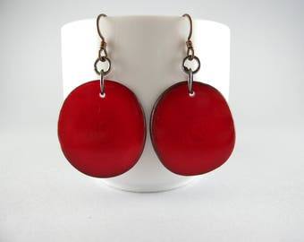 Real Red Tagua Nut Eco Friendly Earrings with Free USA Shipping  #taguanut #ecofriendlyjewelry